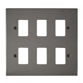 Click Deco Black Nickel 6 Gang Grid Pro Front Plate VPBN20506
