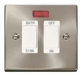Click Deco Satin Chrome 20A DP Sink/Bath Switch VPSC024WH