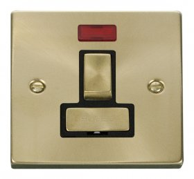 Click Deco Satin Brass Switched Fused Spur with Neon VPSB752BK