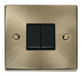 Click Deco Antique Brass 2 Gang 2 Way Switch VPAB012BK
