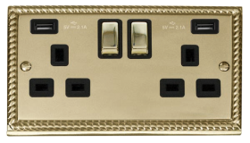 Click Deco Georgian Brass Twin USB Double Socket GCBR580BK