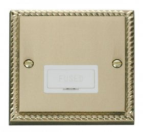 Click Deco Georgian Brass Unswitched Fused Spur GCBR650WH
