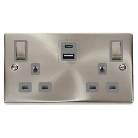 Click Deco Satin Chrome Type A & C USB Double Socket VPSC586GY