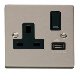 Click Deco Pearl Nickel USB Single Switched Socket VPPN771BK