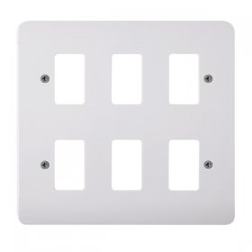 Click Mode White 6 Gang Grid Pro Front Plate CMA20506