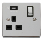 Click Deco Polished Chrome USB Single Switched Socket VPCH571UBK