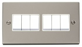 Click Deco Pearl Nickel 6 Gang 2 Way Switch VPPN105WH