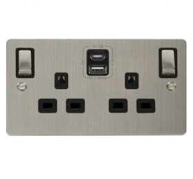 Click Define S/Steel Type A & C USB Double Socket FPSS586BK