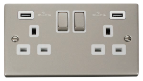 Click Deco Pearl Nickel Twin USB Double Socket VPPN580WH