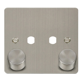 Click Define Stainless Steel 2 Gang Empty Dimmer Plate FPSS152PL