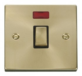 Click Deco Satin Brass 20A Double Pole Switch + Neon VPSB723BK