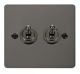 Click Define Black Nickel 2 Gang 2 Way Toggle Switch FPBN422
