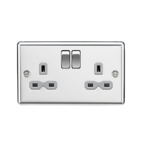 Knightsbridge Polished Chrome 13A Double Switched Socket CL9PCG