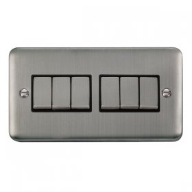 Click Deco Plus 6 Gang 2 Way Ingot Switch DPSS416BK