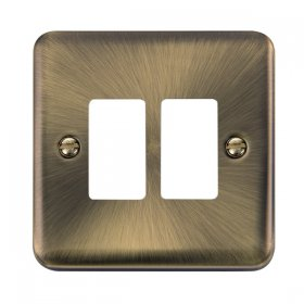 Click Deco Plus Ant/Brass 2 Gang Grid Pro Front Plate DPAB20402