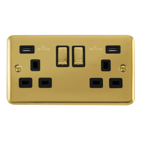 Click Deco Plus Twin USB Double Switched Socket DPBR580BK