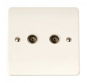 Click Curva CCA066 Twin Non-Isolated Coaxial Socket Outlet