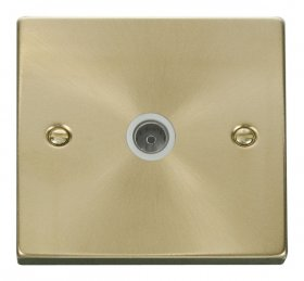 Click Deco Satin Brass Non-Isolated Coaxial Socket VPSB065WH