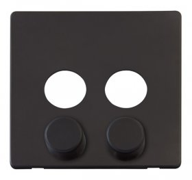 Click Definity 2 Gang Dimmer Switch Cover Plate & Knobs SCP242BK