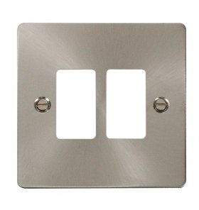 Click Define Brushed Steel 2 Gang Grid Pro Front Plate FPBS20402