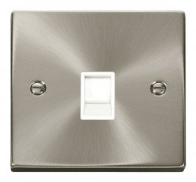 Click Deco Satin Chrome Single RJ11 Socket Ireland/USA VPSC115WH