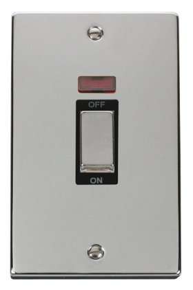 Click Deco Polished Chrome 45A Vertical Switch + Neon VPCH503BK