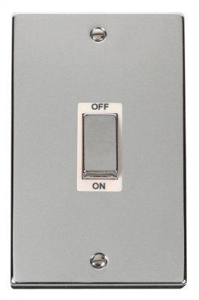 Click Deco Polished Chrome 2G 45A DP Vertical Switch VPCH502WH