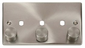 Click Satin Chrome 3G Empty Dimmer Plate with Knobs VPSC153PL
