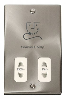 Click Deco Satin Chrome Dual Voltage Shaver Socket VPSC100WH
