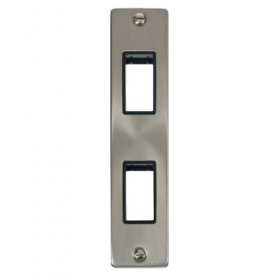 Click Deco Satin Chrome 2 Gang Architrave Plate VPSC472BK