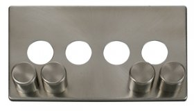 Click Definity 4 Gang Dimmer Switch Cover Plate & Knobs SCP244BS