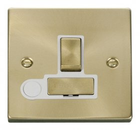 Click Deco Satin Brass Switched Fused Spur + F/O VPSB551WH