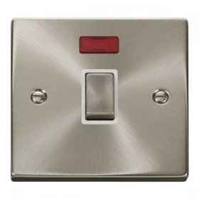 Click Deco Satin Chrome 20A Double Pole Switch + Neon VPSC723WH