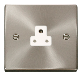 Click Deco Satin Chrome 2A Single Round Pin Socket VPSC039WH