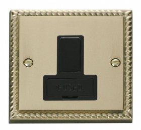 Click Deco Georgian Brass Switched Fused Spur GCBR651BK