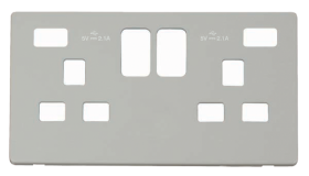 Click Definity Twin USB Double Socket Cover Plate SCP480PW