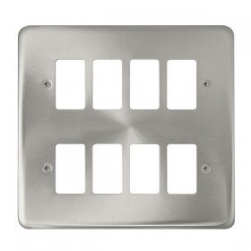 Click Deco Plus Sat/Chrome 8 Gang Grid Pro Front Plate DPSC20508