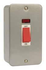 Click Metal Clad 45A 2 Gang Single Cooker Switch with Neon CL203