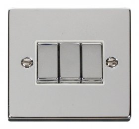 Click Deco Polished Chrome 3 Gang 2 Way Switch VPCH413WH