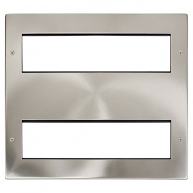Click New Media Satin Chrome 16 Mod Front Plate + Yokes MP616SC