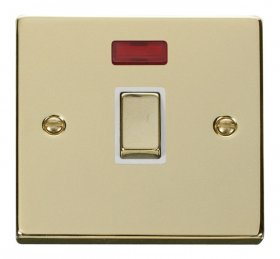 Click Deco Polished Brass 20A Double Pole Switch Neon VPBR723WH