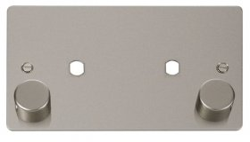 Click Define Pearl Nickel Twin Dimmer Plate 1630W Max FPPN186