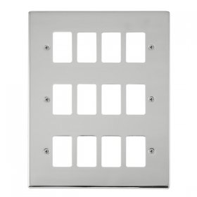 Click Deco Pol/Chrome 12 Gang Grid Pro Front Plate VPCH20512