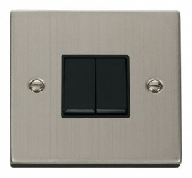 Click Deco Stainless Steel 2 Gang 2 Way Switch VPSS012BK