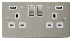 Click Define Stainless Steel Twin USB Switched Socket FPSS580WH