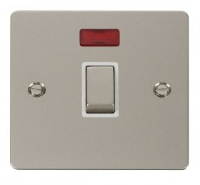 Click Define Pearl Nickel 20A Double Pole Switch Neon FPPN723WH