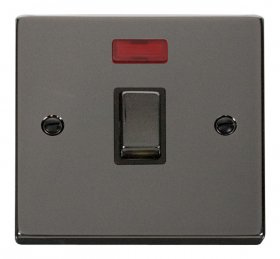 Click Deco Black Nickel 20A Double Pole Switch + Neon VPBN723BK