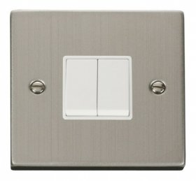 Click Deco Stainless Steel 2 Gang 2 Way Switch VPSS012WH