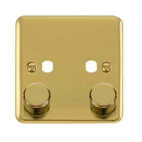 Click Deco Plus 2 Gang Empty Dimmer Plate & Knobs DPBR152PL
