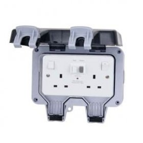 Deligo 2G 13A DP IP66 Switched Weatherproof RCD Socket DWPS22RCD